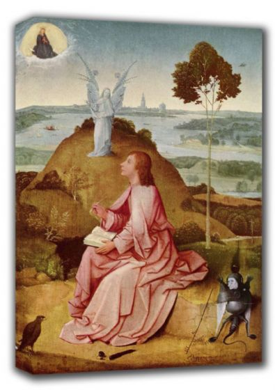 Bosch, Hieronymus: St. (Saint) John the Evangelist on Patmos. Religious Fine Art Canvas. Sizes: A4/A3/A2/A1 (001444)